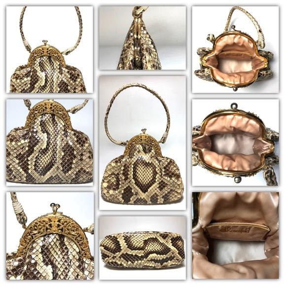 ROSENTHAL Handbags - Rosenfeld Python Snakeskin Repoussé Evening Bag